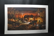 Terry Redlin Morning Warm Up Artist Signed Numbered Gas hunting cabin Print for sale