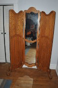 Solid Wood Oak Ball Claw Foot Dressing Mirror 3 Panel Divider For sale by Mars Merchandise