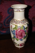 Painted Pink Rose Ceramic Pottery Flower Vase Sale table decor