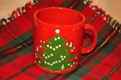 WAECHTERSBACH MUG Red Green Christmas Tree Holiday SPAIN Coffee Hot Cup for sale