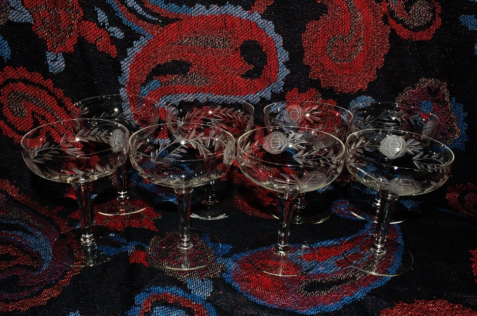 Crystal Champagne Glass Floral Etched Coupe Set Sale best price