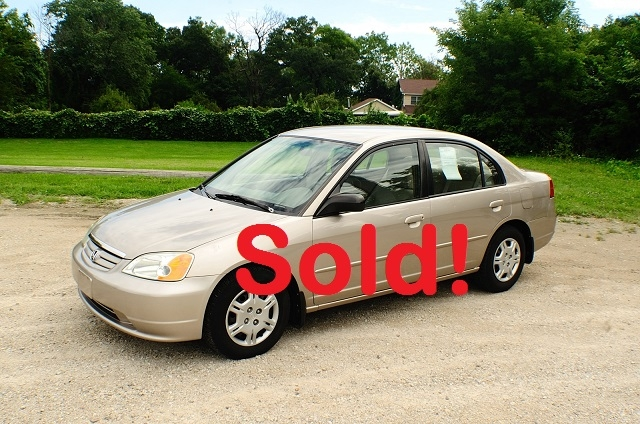 2002 Honda Civic LX Tan Sedan Used Car Sale Antioch Zion Waukegan Lake County Illinois