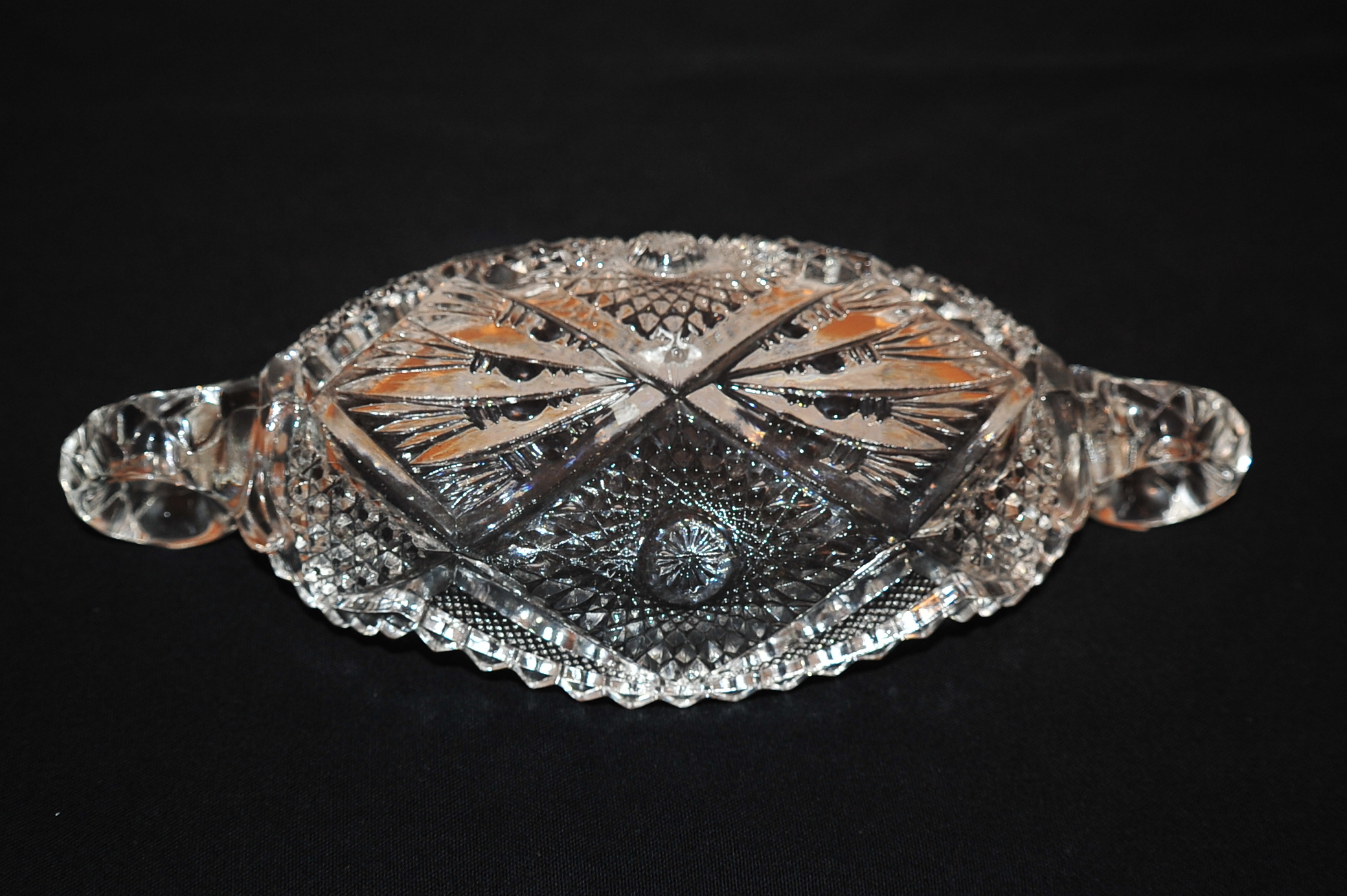 Cut Glass Fancy Etched Sunburst Butter Candy Dish designer store online