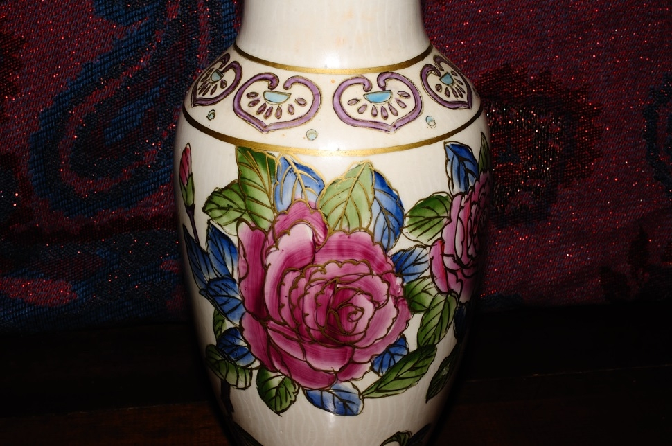 Painted Pink Rose Ceramic Pottery Flower Vase Sale best price outlet