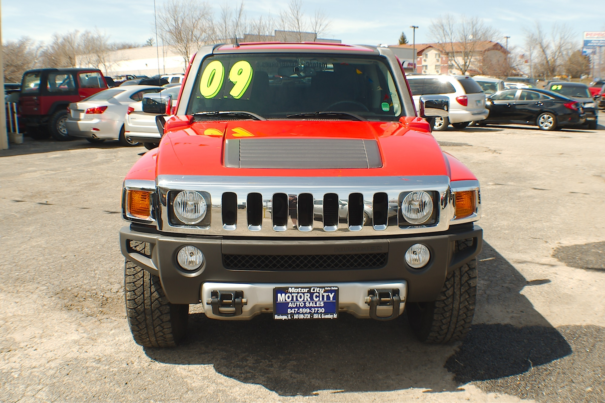 2009 Hummer H3 Red 4x4 Used SUV sale Gurnee Kenosha Mchenry Chicago Illinois