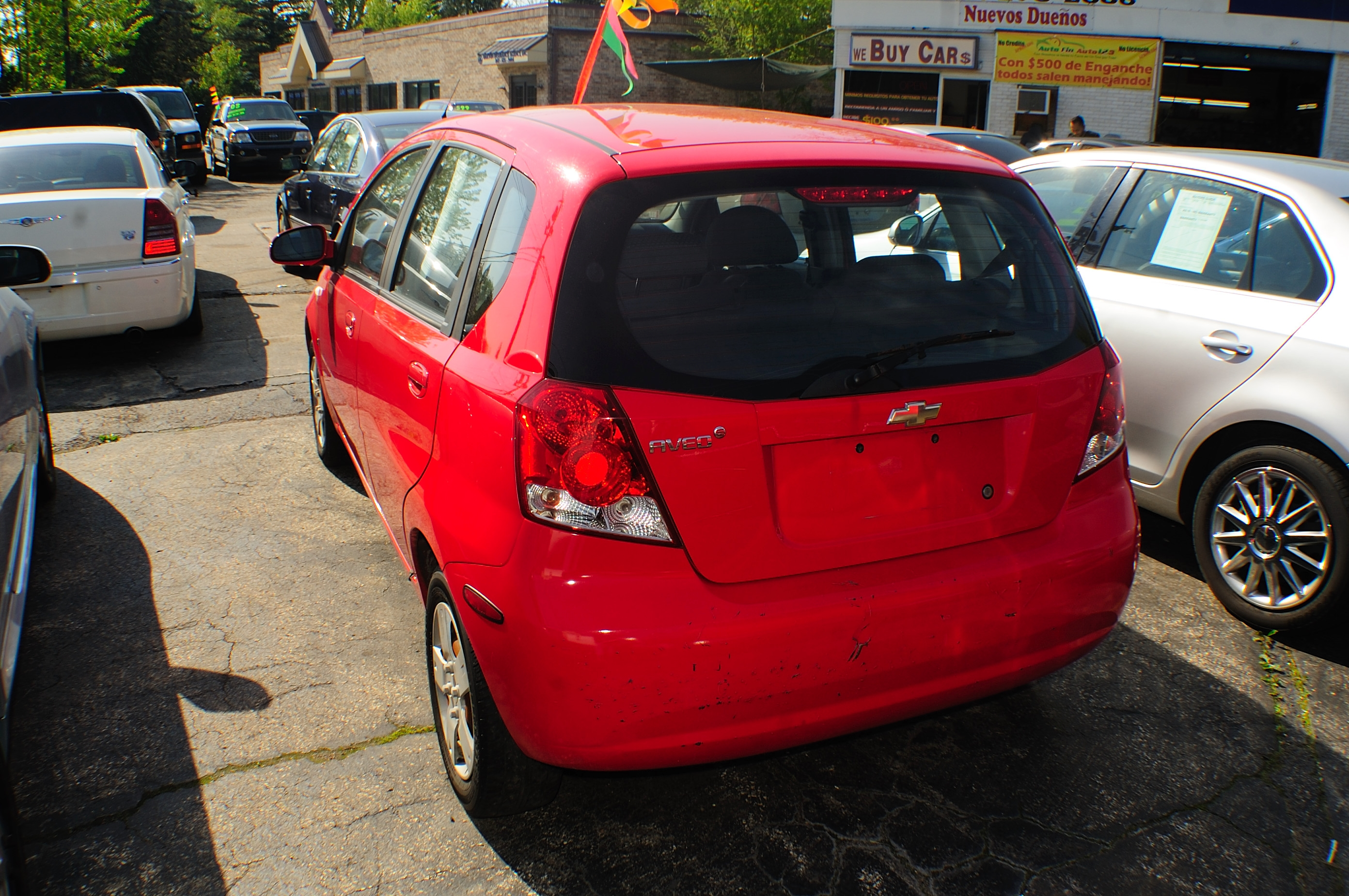 2008 Chevrolet Aveo Red Manual Used Compact car sale Gurnee Hanover Park Hoffman Estates Lombard