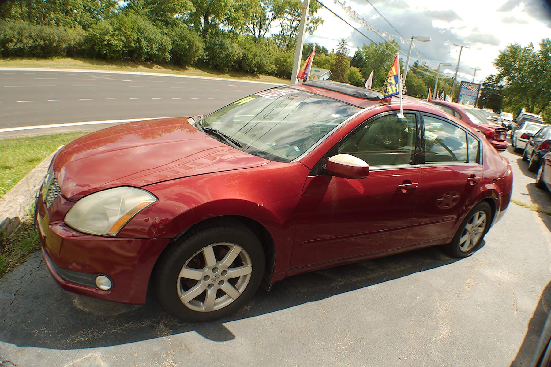 2004 Nissan Maxima SL Red Sedan Used Car Sale Antioch Zion Waukegan Lake County Illinois