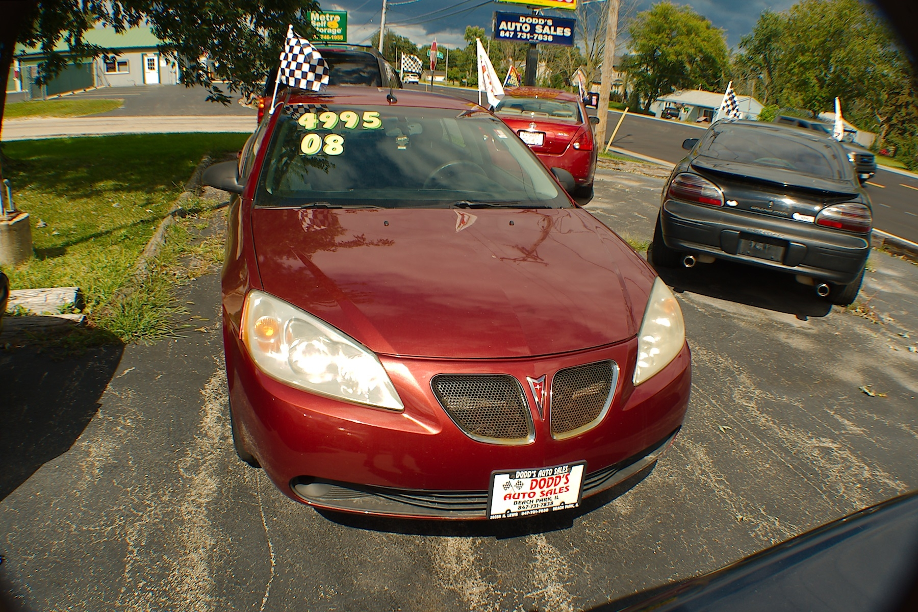 2008 Pontiac G6 Red Sedan Used Car Sale Gurnee Kenosha Mchenry Chicago Illinois