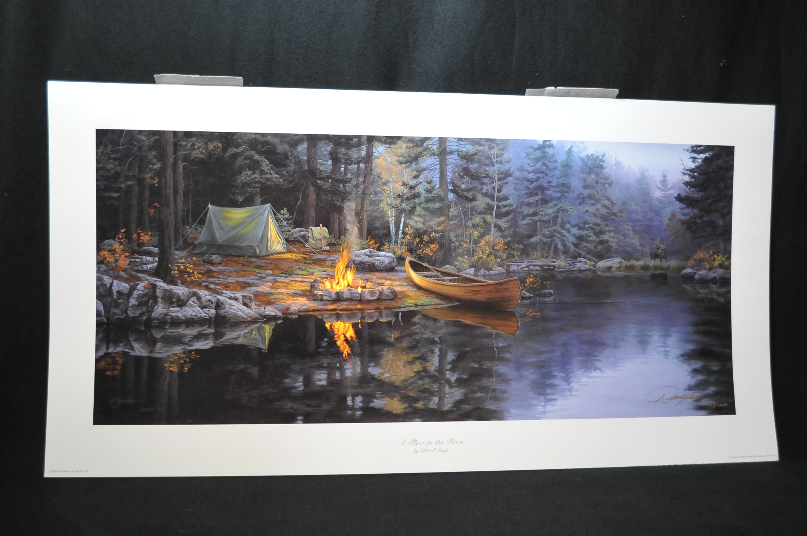 Darrell Bush Place in the Pines Signed Numbered Limited Edition Canoeing Camping Art