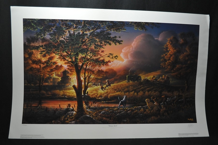 Terry Redlin Always Alert Collectors hunting dogs art print sale