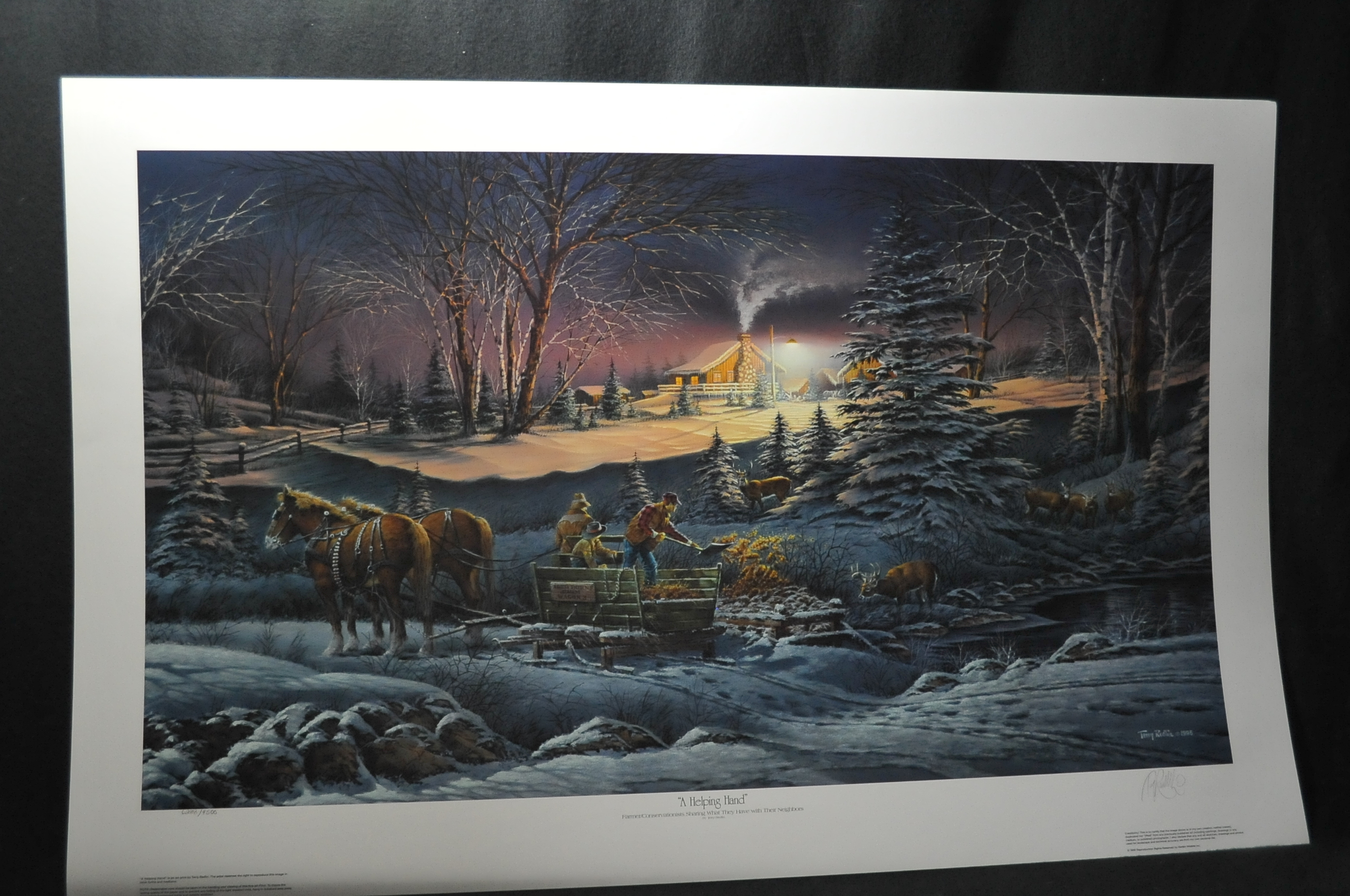 Terry Redlin Helping Hand Art Print Sale cabin wood horse artwork