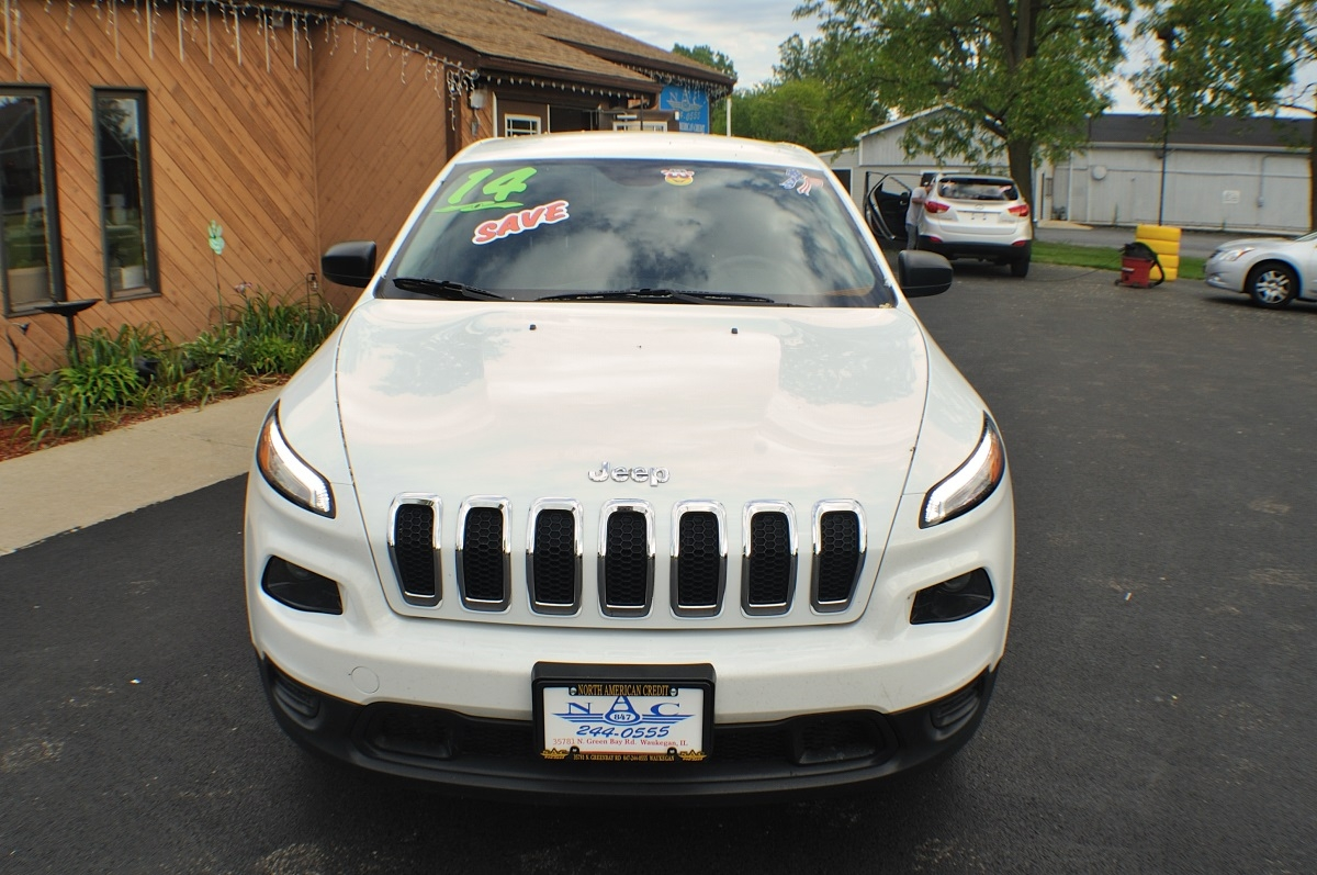 2014 Jeep Cherokee White 4x4 Sport Used SUV Sale Gurnee Kenosha Mchenry Chicago Illinois