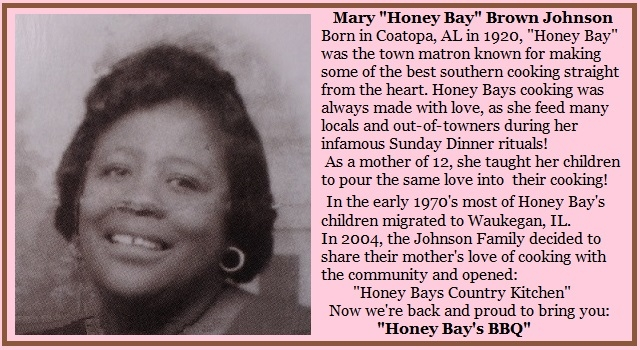 Mary Honey Bay Brown Johnson home cooked meals restaurant Waukegan